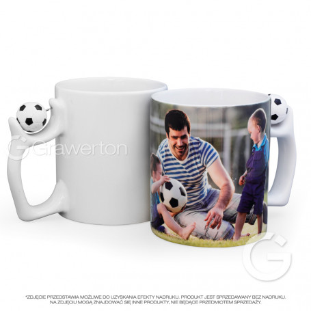 White mug with football ball